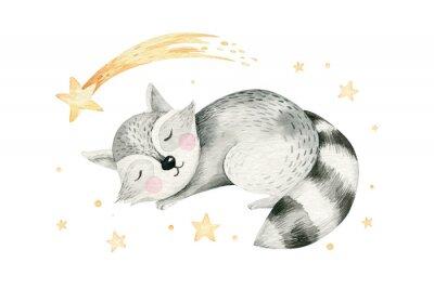 Posters Cute dreaming cartoon cartoon animal hand drawn watercolor illustration. Sleeping charecher kids nursery wear fashion design, baby shower invitation card.
