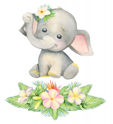 Posters cute elephant, sitting . Children's painting, watercolor, tropical plants and flowers.