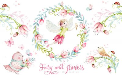 Posters Cute Fairy character watercolor illustration on white background. Magic fantasy cartoon pink fairytale design. Baby girl birthday