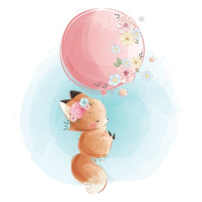 Posters Cute Fox Flying with Flowery Balloon