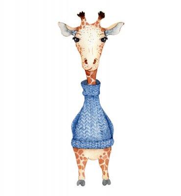 Posters Cute giraffe cartoon watercolor illustration animal
