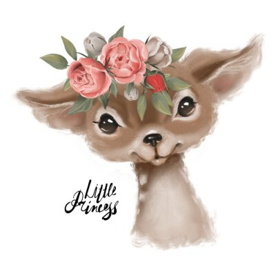 Posters Cute hand drawn deer, fawn in floral wreath, flowers bouquet, woodland watercolor animal portrait