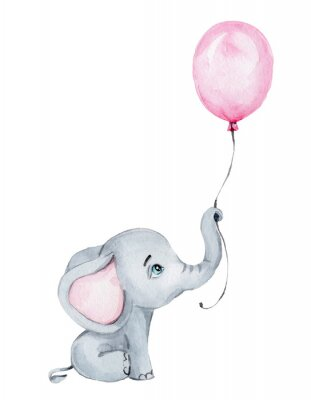 Posters Cute little elephant with pink balloon; watercolor hand draw illustration; with white isolated background