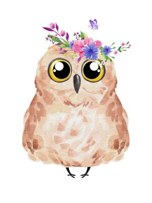 Posters Cute owl in floral wreath. Watercolor owl set