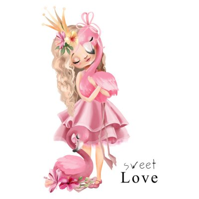 Posters Cute princess girl in the pink dress and gold crown with flamingo and flowers