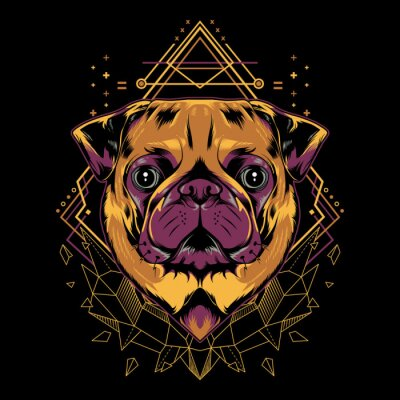 Posters Cute Pug Dog Vector Crystal Geometry Illustration in Black Background