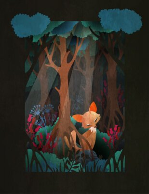 Posters Cute red fox sitting in the forest fairytale illustration, greeting card or poster design