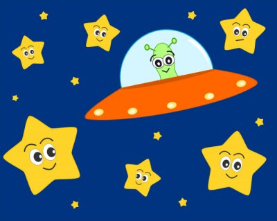 Posters cute ufo alien cartoon in the space with sweet lovely stars vector illustration for kids