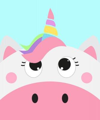 Posters cute unicorn face, vector illustration