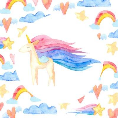 Posters Cute unicorn horse. Fairytale children sweet dream. Rainbow animal horn character. Frame border ornament square. Aquarelle wild animal,  rainbow, heart, stars, clouds