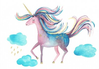 Posters Cute unicorn on a white background for design