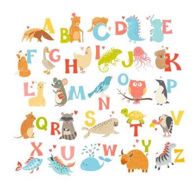 Posters Cute vecteur zoo alphabet. Animaux drôles de bande dessinée. Vector illustration EPS10 isolé sur fond blanc. Des lettres. Apprendre à lire