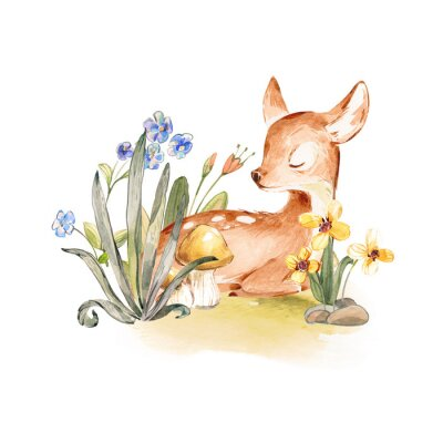 Posters Cute Watercolor Baby Deer with the blue ribbon surrounded by wild flowers and mushrooms over white. Baby Deer sleeping in the forest. Isolated. Nursery print for baby girl oa boy.