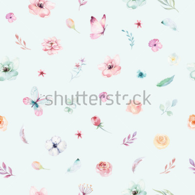Posters Cute watercolor unicorn seamless pattern with flowers. Nursery magical unicorn patterns. Princess rainbow texture. Trendy pink cartoon pony horse.