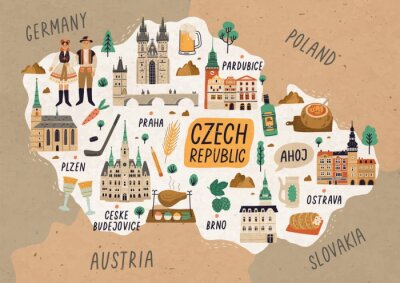 Posters Czech Republic cultural map hand drawn illustration. European country traditional symbols. People in authentic clothing, national dishes and sightseeing spots. Famous landmarks and food drawing.