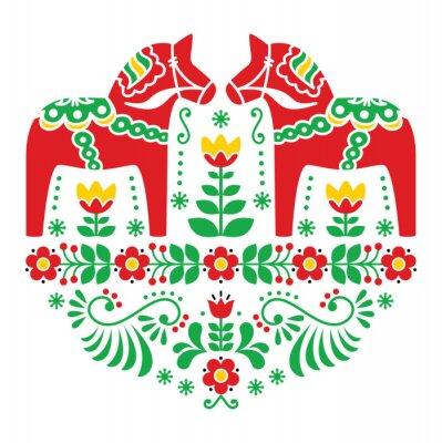 Posters Dala de Suédois ou un motif Daleclarian populaire floral de cheval