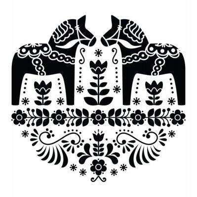 Posters Dala de Suédois ou un motif folklorique de cheval Daleclarian en noir