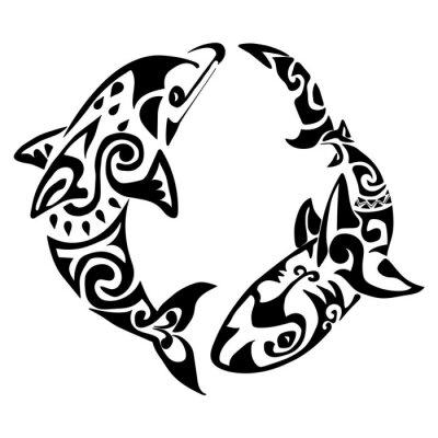 dauphin tatouage polynésie maori vecteur affiches murales • posters
