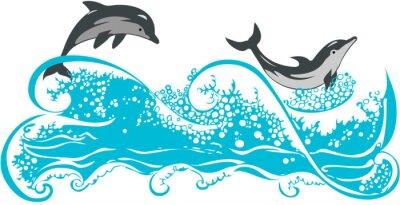 Posters Dauphins sautant dans les vagues