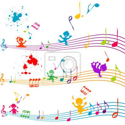 De couleur en bois debout avec des enfants chantant