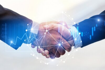 Posters Deal. business man shaking hands with effect global network link connection and graph chart of stock market graphic diagram, digital technology, internet communication, teamwork, partnership concept