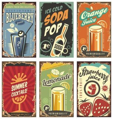Posters Décor mural rétro avec jus et set de boissons