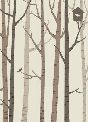 Posters Décoratif, silhouettes, Arbres, oiseau, birdhouse