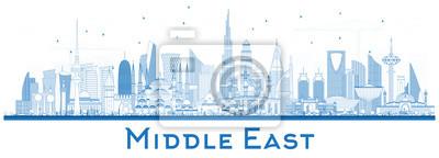 Posters Décrire les toits de la ville du Moyen-Orient avec les bâtiments bleus isolés sur blanc.