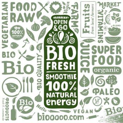 Posters Définir des labels bio et des icônes pour les produits alimentaires bio naturels
