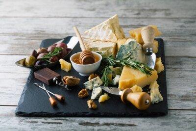 Posters Délicieux, fromages, planche, miel, noix, blanc, backgro