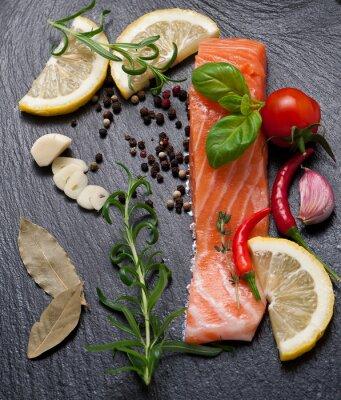 Posters Délicieux, portion, frais, saumon, filet, aromatique, herbes, épices, légumes