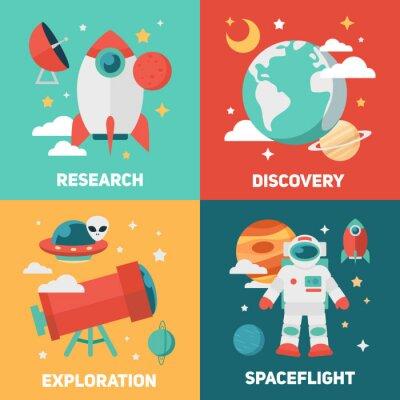 Posters des bannières et des cartes thématiques de l'espace