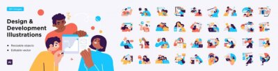 Posters Design and Development illustrations. Mega set. Collection of scenes with men and women involved in software or web development. Trendy vector style
