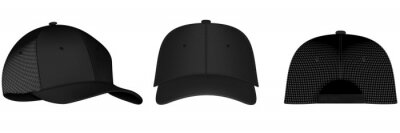 Posters Design template, vector realistic white baseball cap front, back and side view isolated on background. Realistic back front and side view. Vector baseball cap front and side view.