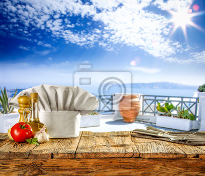 Desk of free space for your decoration and summer background of sea with sky.