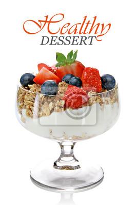 Dessert sain avec muesly et fruits
