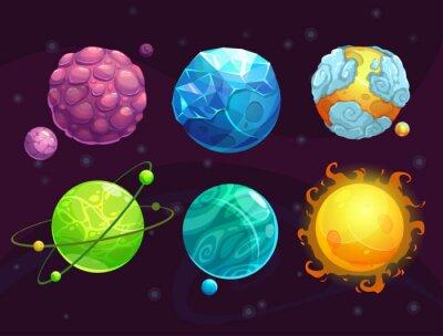 Posters Dessin animé, fantaisie, alien, planètes, ensemble