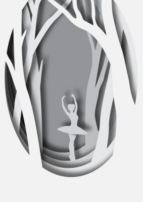 Posters Dessin artistique en papier de ballerine