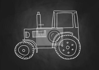 Dessin De Tracteur Sur Le Tableau Noir Affiches Murales Posters Diesel Craie Eduquer Myloview Fr
