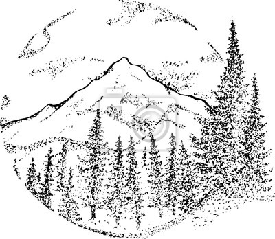 Dessin Noir Et Blanc De Montagnes De Nuages Darbres Inscrit