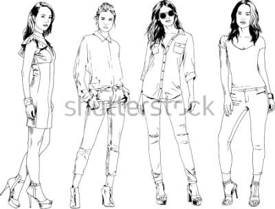 Posters dessins vectoriels sur le thème de la belle fille sportive mince dans des vêtements décontractés dans diverses poses esquisse à la main encre peint sans fond