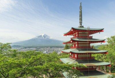 Posters destination de Voyage - Mt. Fuji avec pagode rouge au printemps, Fujiyos