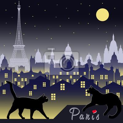 Deux chats noirs sur le fond de Paris la nuit. Illustration vectorielle dessin dessinée à la main. Style vintage