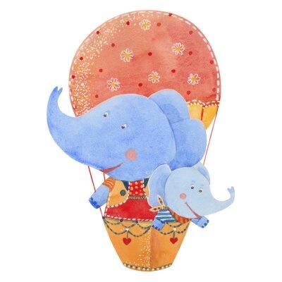 Posters Deux, éléphants, mouche, ballon, aquarelle, Illustration