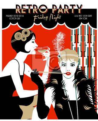 Deux filles Flapper. Rétro carte d'invitation de fête. Illustration vectorielle dessinée à la main. Style Art Déco