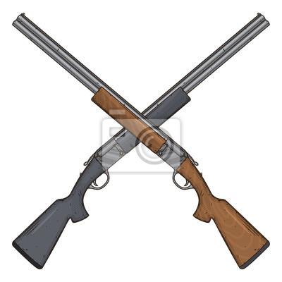 Posters Deux fusils de chasse croisés, illustration vectorielle isolé sur fond blanc. Pistolet de chasse.
