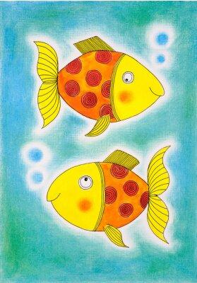Posters Deux poissons d'or, le dessin d'enfant, peinture à l'aquarelle sur papier