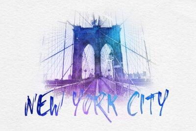 Posters Devant, vue, brooklyn, pont, NYC, texte