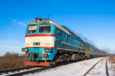 Posters Diesel train local en Ukraine.