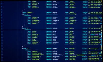 Posters Digital java code. Coding application by programmer developer. Web app code. Script on computer with source code. Programming code abstract background screen of software
